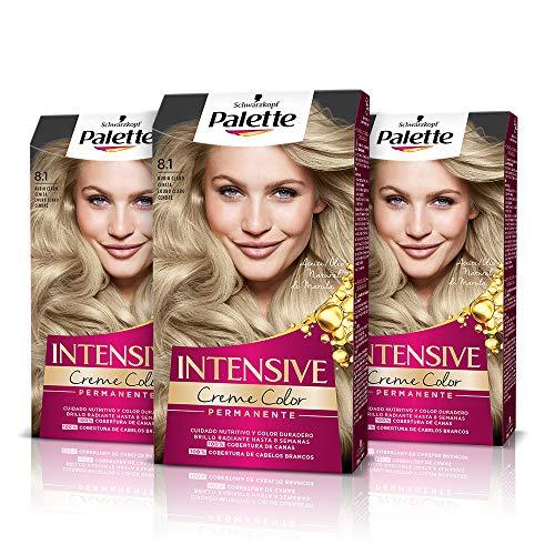Schwarzkopf Palette Intensive - Tinte 8.1 cabello Rubio Claro Ceniza – Perfecta cobertura de canas – Coloración Permanente de Cuidado con Aceite de Marula - Color duradero hasta 8 semanas (Pack de 3)