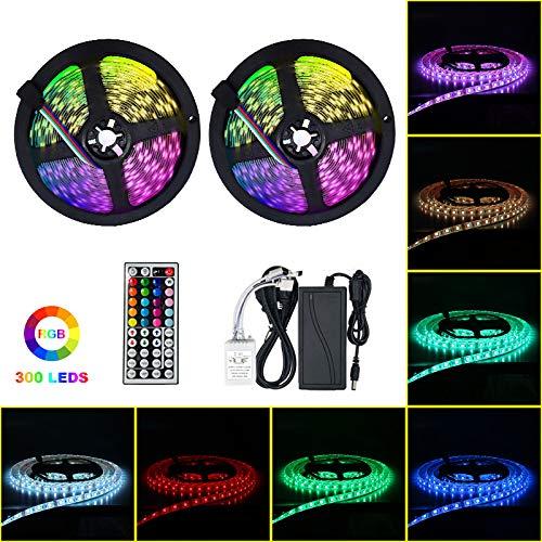 LED Streifen 10M Lichtband,32,8Ft Wasserdicht IP65 RGB 5050 300(2x150) LED Stripes mit 44Tasten Fernbedienung+ 12V Netzteil für Haus, Garten, Dekoration [Energieklasse A++]