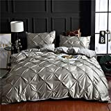 Grey Pinch Pleated Bedding Light Grey Silk Like Satin Duvet Cover Set Pintuck Ruffle Design Silver Grey Silky Microfiber Bedding Sets King (104x90) 1 Pintuck Duvet Cover 2 Pillowcases (Grey, King)