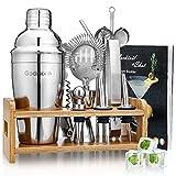 Godmorn 14 pièces Cocktail Set Bar Kit Bar Tool Set, Shaker à Martini en Acier Inoxydable de 500ml avec Support en Bois, Double Jigger, Cuillère à mélanger, 2 Verseurs, Livret de 20 Recettes