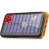 KEDRON Batterie Externe, 24000 mAh Chargeur Solaire Power Bank avec Deux Entrées et 3 Ports Haute...