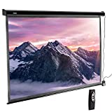 VonHaus 100 Inch Motorized Automatic Projector Screen with Remote Control, HD 4K 16:9 Aspect Ratio, 1.1 Screen Grain Rating for Home Cinema Theater, Drop Down Projection Screen