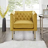 Cui Liu LaVine Tufted Mustard Yellow Velvet Club Chair with Gold Metal Legs, Modern arm Chair for Living Room
