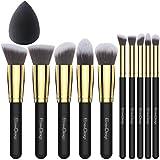 EmaxDesign 10+1 Pinceaux de maquillage,10 pièces doré Noir Premium...