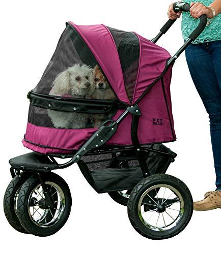 Pet Gear NO-ZIP Double Pet Stroller, Zipperless...
