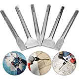 6 Pcs SDS Max Chisel Set Hammer Drill Chisel Set 3/4 inch Masonry Concrete Chisel Drill Bits, HOLAN 11-inch Length Rotary Hammer Chisel Bits Including 50mm Wide Chisel, 25mm Flat Chisel, Point Chisel