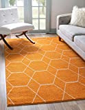 Unique Loom Trellis Frieze Collection Lattice Moroccan Geometric Modern Orange Area Rug (5' 0 x 8' 0)