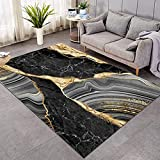 Sleepwish Marble Area Rugs Abstract Print Modern Fluffy Living Room Carpets Black Gold Grey Indoor Area Rugs (4' x 6')