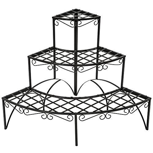 TecTake Pflanzentreppe Blumenbank 3 Stufen - belastbar bis 30 kg - ca. 60x60x60cm - Diverse Modelle (Stufen rund   Nummer 401712)