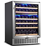 【Upgraded】Wine Cooler Dual Zone,Aobosi 24 inch 51 Bottle Wine refrigerator Built-in or...