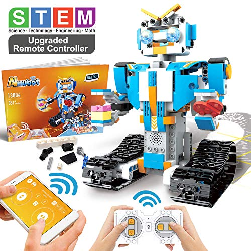 POKONBOY Building Blocks Robot Kit for Kids,App Controlled STEM Toys Science Engineering Kit DIY Building Robot Kit STEM Robotics for Teens Boys Girls to Build Age of 8-14White