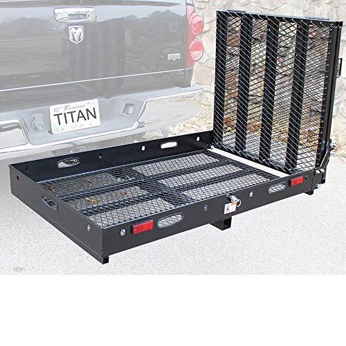 Titan Ramps Hitch Mounted Wheelchair Carrier Rack Ramp 500 lb Capacity Black Powder Coated Steel