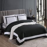 EXQ Home Duvet Cover Set Black-White Twin Size 3 Pieces, Super Soft Vintage Bedding Down Comforter Cover with Zipper Closure, Machine Washable Breathable Microfiber Polyester Duvet Cover