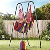 The Lakeside Collection Striped Hanging Chair with Storage Pouch - Ocean