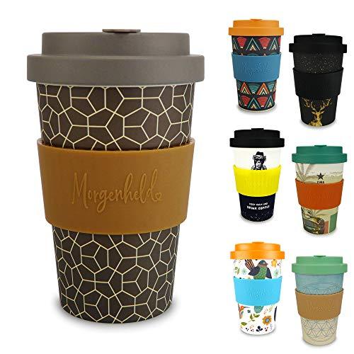 Morgenheld il tuo bicchiere di bambù alla moda | Coffee-to-Go bicchiere con coperchio a vite e fascetta in silicone, dal design futuristico, 400ml - Brownie