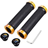 TOPCABIN Bicycle Grips,Double Lock on Locking Bicycle Handlebar Grips Rubber Comfortable Bike Grips for Bicycle Mountain BMX (Gold)