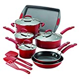 Rachael Ray 14267 Brights Nonstick Cookware Pots and Pans Set, 14 Piece, Red Gradient