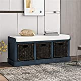 Rustic Storage Bench for Entryway with 3 Removable Classic Fabric Basket Wooden Shoe Bench Storage Bench with Removable Cushion - Antique Navy