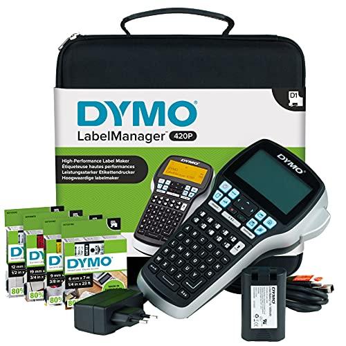 DYMO LabelManager 420P Kit Etichettatrice Portatile Ricaricabile   Stampante per Etichette con Tastiera ABC con Custodia e 4 Nastri per Etichette D1