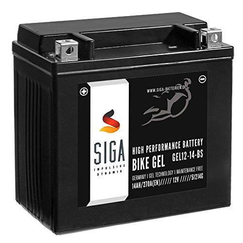 SIGA Bike Gel YTX14-BS Motorrad Batterie 14Ah 12V 270A/EN GEL12-14-BS, YTX14-4