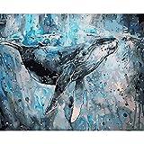 AGjDF Tableau Animal baleine perdueTableau Animal baleine perdue5D DIY Peinture par Numéros_PréimpressionToile_Enfants Adultes Dessin abstrait Toile Avec Des brosses décorations déc—40x50cm sin Marco
