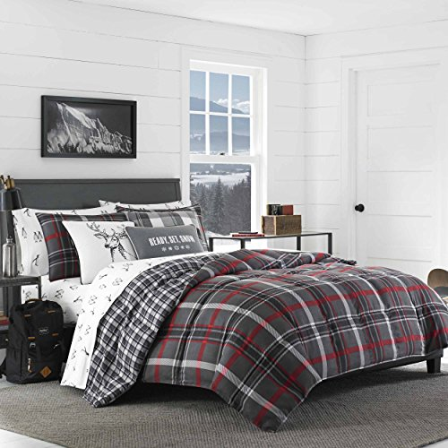 Eddie Bauer Willow Plaid Comforter Set, Full/Queen, Dark Grey