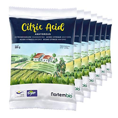 Nortembio Acido Citrico 3,5 kg (7x500g). Polvere Anidro, 100% Puro. per Produzione Biologica. E-Book Incluso.