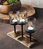 Le'raze Elegant, Decorative Votive Candle Holder Centerpiece, 3 Glass Votive Cups On Wood Base/Tray for Wedding Decoration Dining Table