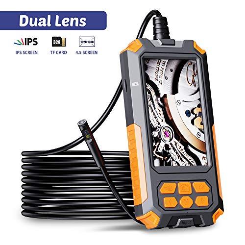 ILIHOME Dual Kameras Endoskopkamera, Doppelkamera Dual Lens 4,5 Zoll IPS Bildschirm Endoskop, 8+1 Einstellbaren LED-Licht Inspektionskamera, 5 Meter Kabel Rohrkamera, 3500mAh Akku, 32GB TF Karte