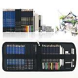 41PCS kit de dessin pro avec Crayons Fusain, crayon de couleur...