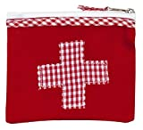 Mini-Farmacia Bolsa de medicinas roja algodón con aplicación Cruz roja y Blanca Vichy a Cuadros 13x11cm Ringelsuse