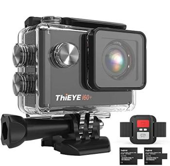 ThiEYE i60+ Caméra Sport 4K WiFi 20MP 170 ° Grand-Angle Action Camera Caméscope 60M Etanche 2.0 '' LCD HD Ecran 2.4G Télécommande 2 Batteries Rechargeables 1050mAh et Kit d'Accessoires