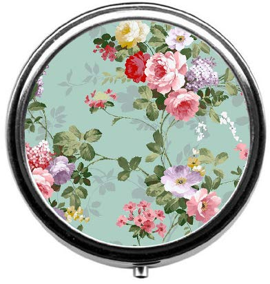 BeeGogo - Vintage Floral Custom Round Silver Pill Box Pocket 2.1 inches Medicine Tablet Holder Organizer Case for Purse