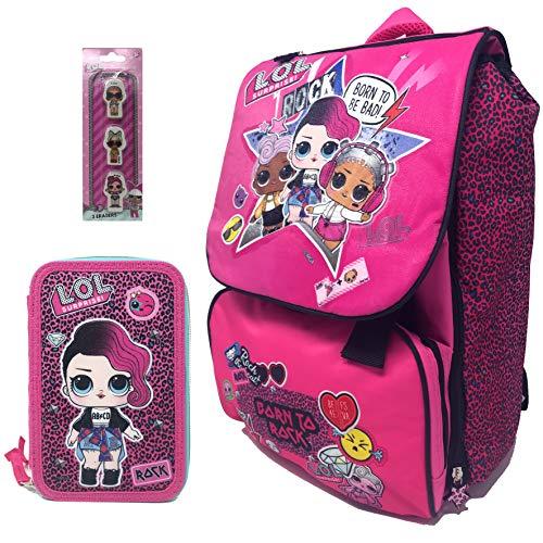 LOL SURPRISE Schoolpack - Zaino Estensibile + Astuccio 3 Zip Completo di Cancelleria Con Set 3 Gomme...