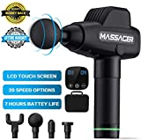 Muscle Massager, Massage Gun 20 Adjustable Speeds Rechargeable Cordless Handheld Deep Tissue Percussion Muscle Massager with 4 Replaceable Massage Heads, Touch Screen and Portable Bag for Athletes
