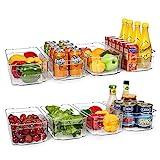 HOOJO Refrigerator Organizer Bins - 8pcs Clear Plastic Bins For Fridge, Freezer, Kitchen Cabinet, Pantry Organization and Storage, BPA Free Fridge Organizer, 12.5' Long