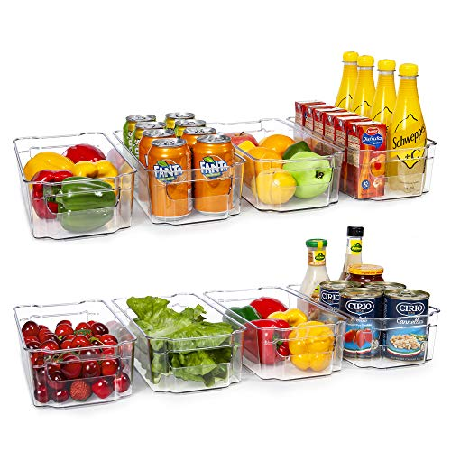 HOOJO Refrigerator Organizer Bins - 8pcs Clear Plastic Bins For...