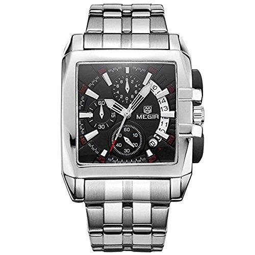 megir Herren Armbanduhr, Edelstahl Analoguhr, schwarzes Zifferblatt Quarz-Armbanduhr mit Kalenderfunktion 2018BK