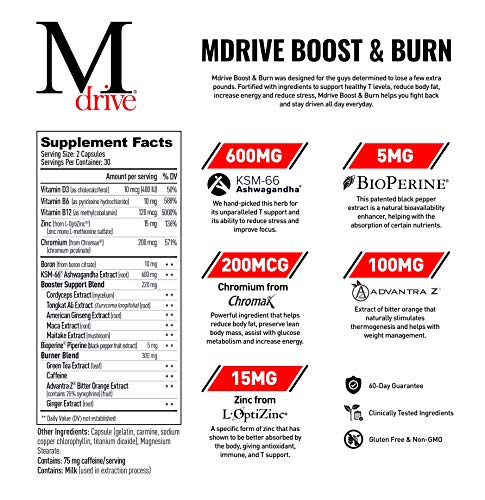 Mdrive Boost and Burn for Men, Zinc, KSM-66 Ashwagandha, Cordyceps, Advantra Z, Chromax - Natural Energy, Strength, Stress Relief, Lean Muscle, 60 Capsules 4
