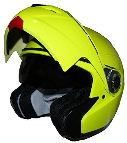 Protectwear Casque de moto intégral pliant, jaune brillant néon, avec pare-soleil intégré, KH-910-NEO, Taille: M