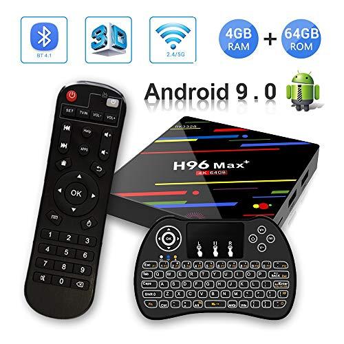 Android 9.0 TV Box 4GB RAM 64GB ROM, H96 MAX Plus Smart TV Box RK3328 Quad-Core 64bit Support 2.4G/5G Dual WiFi 3D 4K Ultra HD H.265 USB3.0 BT4.0 with Wireless Mini Backlit Keyboard
