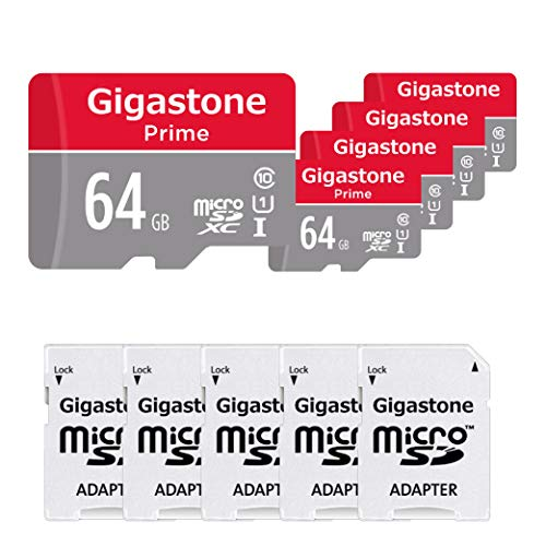 Gigastone 64GB 5-Pack Micro SD Card, Gaming Plus, Nintendo Switch Compatible, High Speed 90MB/s, 4K Video Recording, Micro SDXC UHS-I A1 Class 10