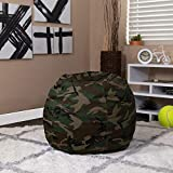 EMMA + OLIVER Small Camouflage Bean Bag Chair for Kids and Teens