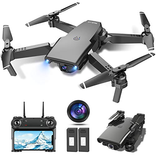 Drone con Telecamera 1080P HD Drone Pieghevole FPV Drone Professionale Posizionamento del Flusso Ottico, Due Batterie Telecomando WiFi Un Pulsante di Decollo/ Atterraggio ,Modalit Senza Testa 3D Flip