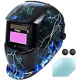 Yorbay Masque de Soudure Automatique DIN 9-13 + 5 Verres de Protection (Foudre Crâne)