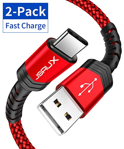 USB Type C Cable 3A Fast Charging, JSAUX(2-Pack 6.6ft+6.6ft) USB-A to USB-C Charge Braided Cord Compatible with Samsung Galaxy S10 S10E S9 S8 S20 Plus,Note 10 9 8,Z Flip, and Other USB C Charger(Red)