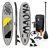 ECD Germany Stand Up Surf Paddle Gonflable Sup Maona | 308 x 76 x 10 cm | jusqu'à 120kg | PVC | Gris | Planche Surf avec Pagaie Sac de Transport Pompe à Air Accessoires | Paddling Différent modèles