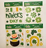 The Spotted Moose St. Patrick's Day Window Stick-on Gel Clings Bundle 4 Sheets - 68 Pieces Including Shamrocks, Pot of Gold and More