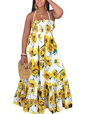Material :90%Polyester + 10%Cotton. Soft touch Features: Sunflower printed, Tube Tops, Sleeveless, Halter neck, Open back, Bandage design on back, Sexy spaghetti strap, Ruffle hem, High elastic waist, Self tie belt, Tierd Hem, Boho dress, Vintage Dre...