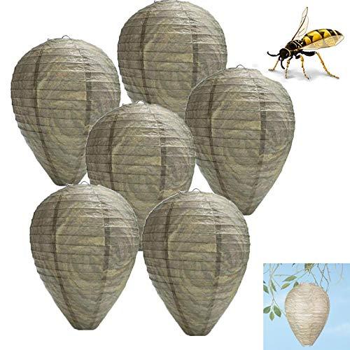 Falso Nido di vespe Esca Repellente trappole Appeso all'aperto calabrone Ape Ecologico Carta Non tossica Controllo deterrente per casa e Giardino (Size : 6PCS)